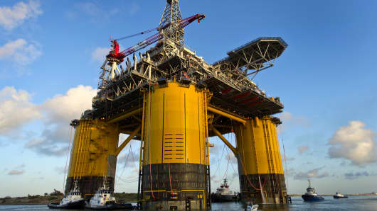 The Royal Dutch Shell Plc Olympus tension leg platform (TLP) sets sail from Kiewit Offshore Services in Ingleside, Texas.