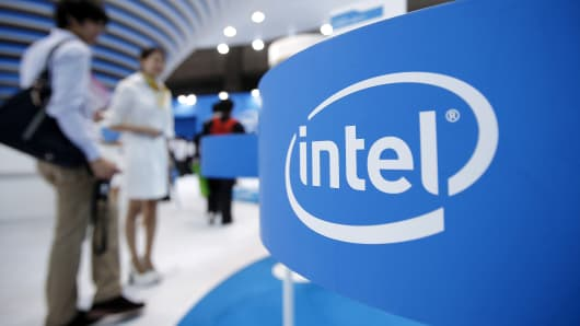 The Intel booth at the CEATEC Japan 2013 exhibition in Chiba City