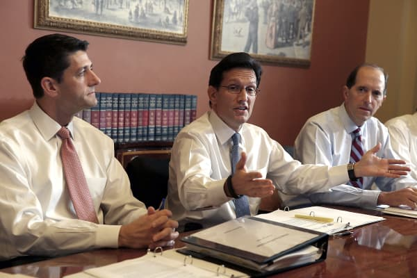 U.S. Rep. Paul Ryan (R-WI) (L), U.S. Rep. Eric Cantor (R-VA) (C) and U.S. Rep. Dave Camp (R-MI).