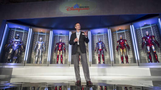 Tom Staggs, chairman of Walt Disney Parks and Resorts announces the Iron Man Experience is coming to Hong Kong Disneyland in 2016.