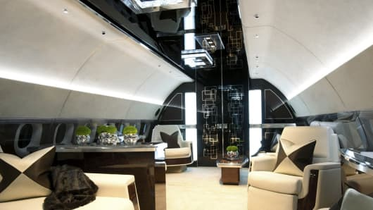 The mock interior of an Airbus jet at The Jet Business