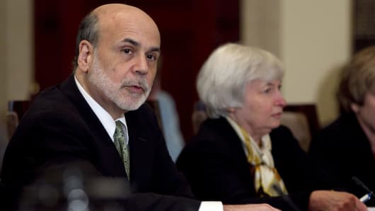 Ben S. Bernanke, chairman of the U.S. Federal Reserve, from left, Janet Yellen