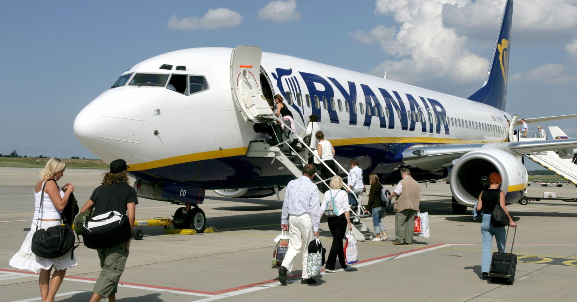 Passengers board a Ryanair flight at the Frankfurt-Hahn Airport