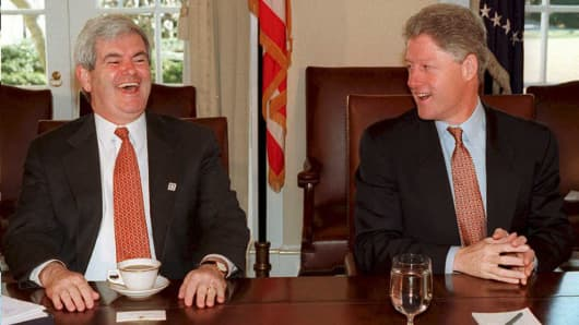 Newt Gingrich and Bill Clinton in 1995