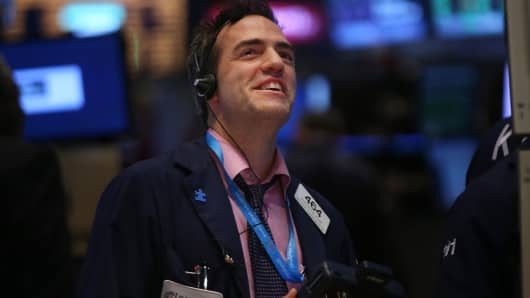 A trader work on the floor of the New York Stock Exchange.