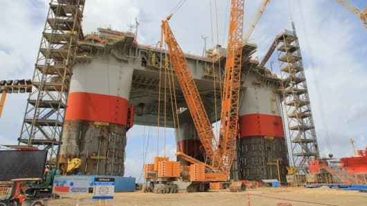 The Chevron Jack St. Malo platform, currently under construction just outside of Corpus Christi, Texas.