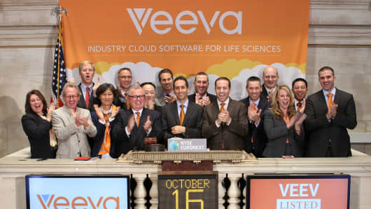 Veeva Systems Founder and CEO Peter Gassner rings the opening bell at the New York Stock Exchange to celebrate the company's IPO on October 16, 2013 in New York City.