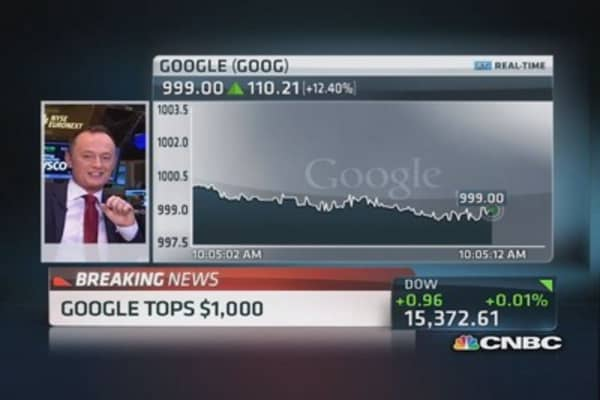 The moment Google topped $1,000 per share