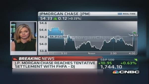 JPM reaches tentative settlement with FHFA: DJ
