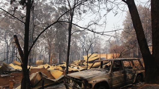 A home destroyed by bushfire as seen on October 21, 2013 in Winmalee, Australia.
