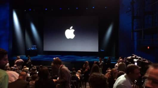 The media awaits the Apple event that is expected to announce the new iPad and iPad mini.