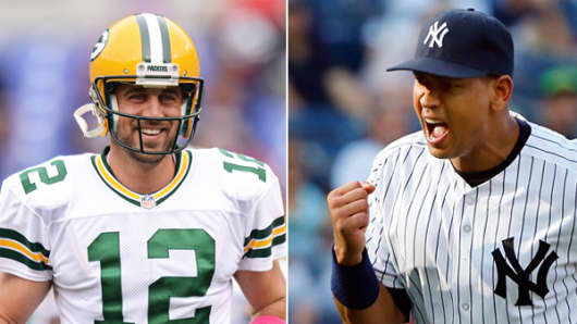 Aaron Rodgers and Alex Rodriguez