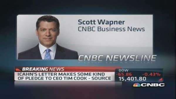 Icahn sends letter to Apple's Tim Cook