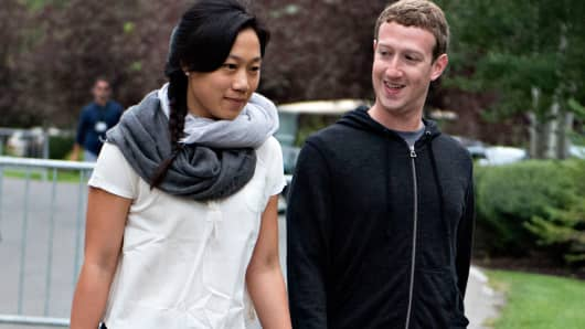 Mark Zuckerberg and his wife, Priscilla Chan.