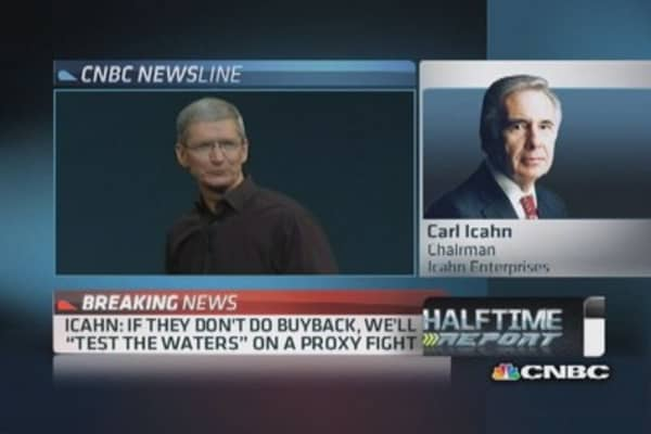 Icahn:  Could 'test waters' for Apple proxy fight