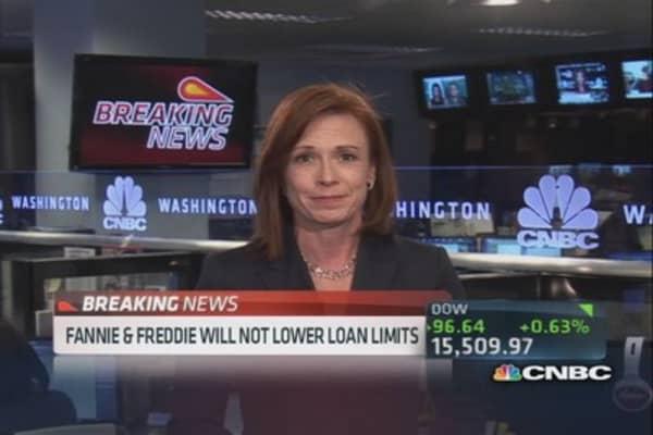 Fannie & Freddie will not lower loan limits