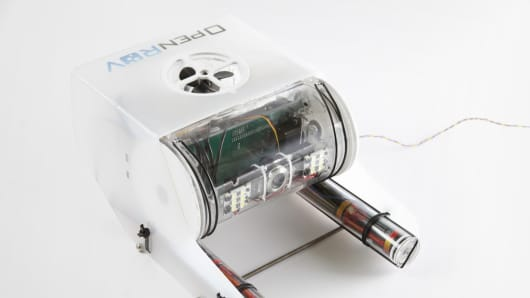 OpenROV's underwater robot developed with open-source technology.