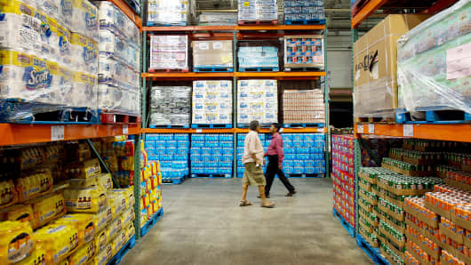 Customers shop at a Costco Wholesale Corp. store in Hackensack, New Jersey.