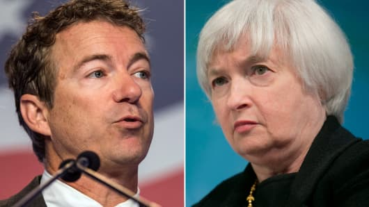 Rand Paul (L), and Janet Yellen (R)