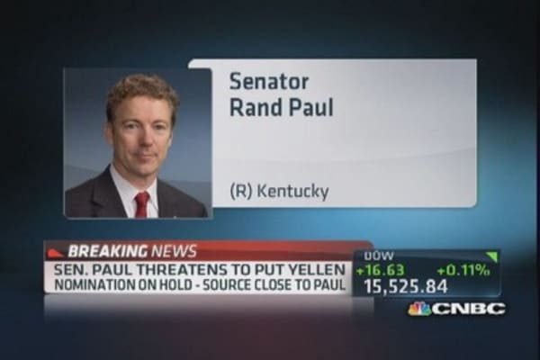 Sen. Paul threatens Yellen nomination