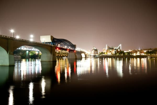 On the waterfront: Market Street Bridge and the Tennessee Aquarium