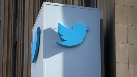 A sign is posted outside of the Twitter headquarters in San Francisco, California.