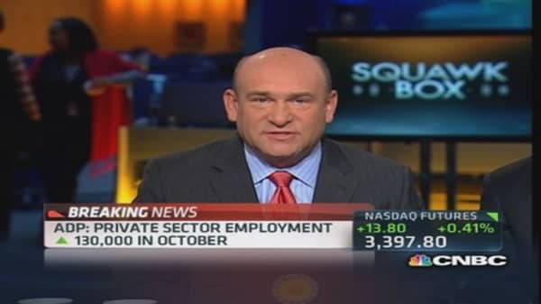 ADP private payrolls up 130,000 in October