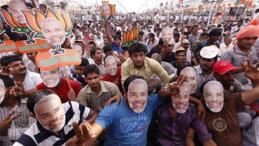 Huge crowd gathered during Narendra Modi's first rally after being anointed the BJP's prime ministerial candidate for the 2014 general elections.