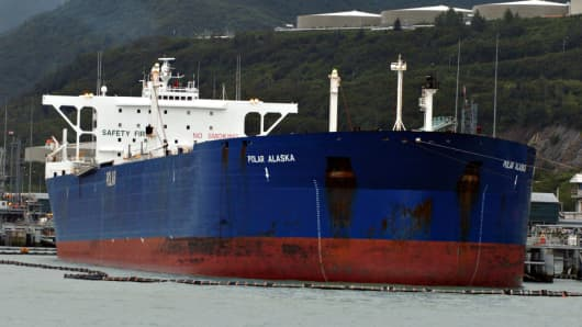Polar is the marine shipping unit of ConocoPhillips. 500,000 barrel storage tanks are seen in the distance.