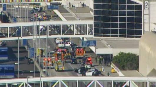 Shots fired in Terminal 3 at LAX International Airport.