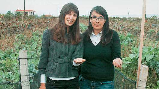 Mary and Penny Vlachou, founders of the Fereikos-Helix escargot farm in Corinth, Greece
