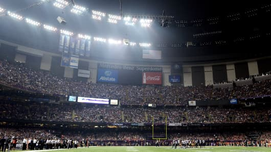 The Mercedes-Benz Superdome after a sudden power outage during Super Bowl XLVII.
