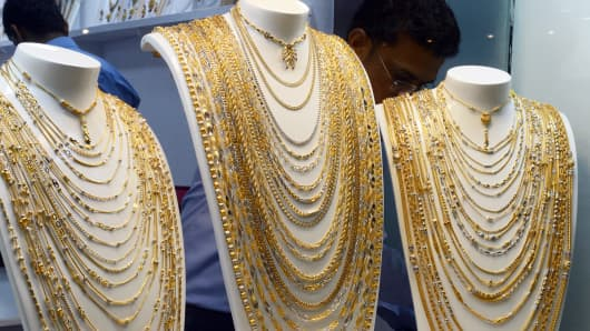 Gold jewelry on display in New Delhi.