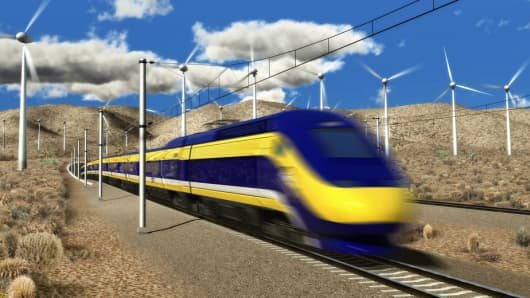 Dream vs. reality: A rendering of California's high-speed rail project that is supposed to connect San Francisco and Los Angeles
