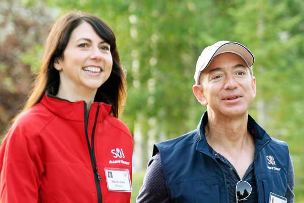 Jeff Bezos, founder and CEO Amazon.com, and his wife Mackenzie Bezos.