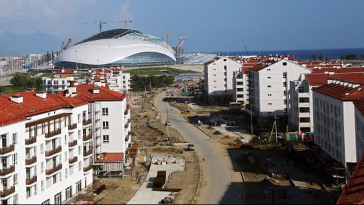 Bolshoy Ice Dome and other Sochi Olympic venues under construction in August 2013