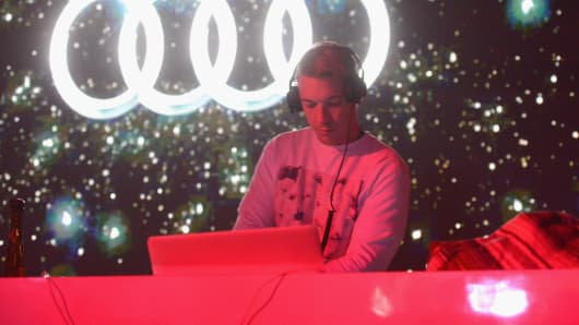 Musician Diplo performs on stage at the Audi Forum New Orleans at the Ogden Museum of Southern Art on February 2, 2013 in New Orleans, Louisiana.
