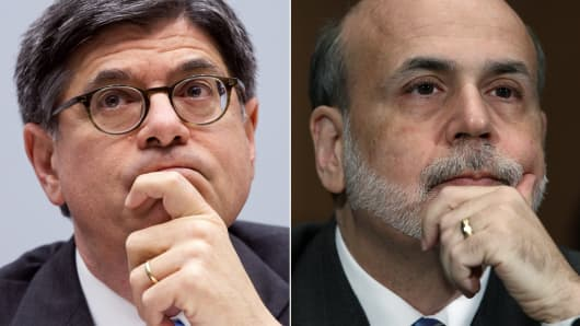 Treasury Secretary Jack Lew and Chairman of the Federal Reserve Ben Bernanke.
