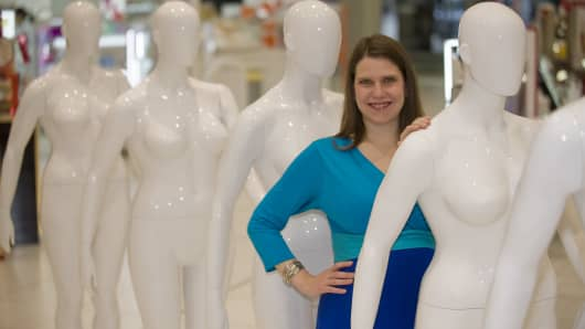 U.K. Equalities Minister Jo Swinson with Debenhams' plus-sized mannequins