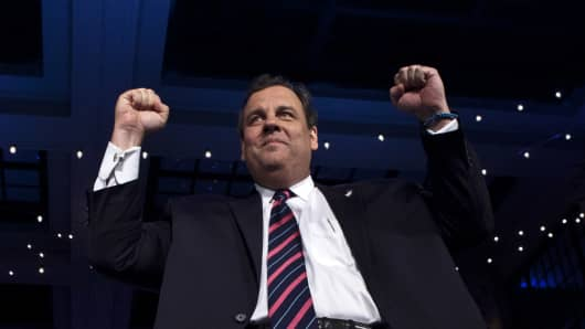 Gov. Chris Christie arrives at his victory party Tuesday night in Asbury Park, N.J.