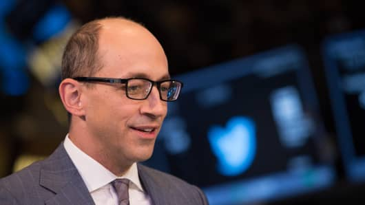 Twitter ceo Dick Costolo at the NYSE to launch the Twitter IPO.