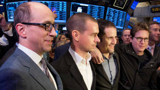 Twitter's executives at the NYSE to launch their IPO on Nov. 7, 2013.