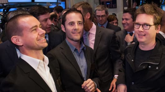 Twitter's founders were on hand to launch the company's IPO at the NYSE on Nov. 7, 2013.