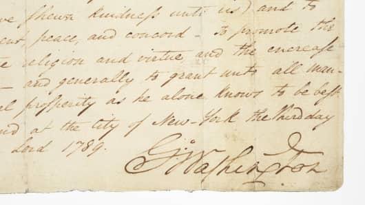 Detail of George Washington's Thanksgiving Proclamation