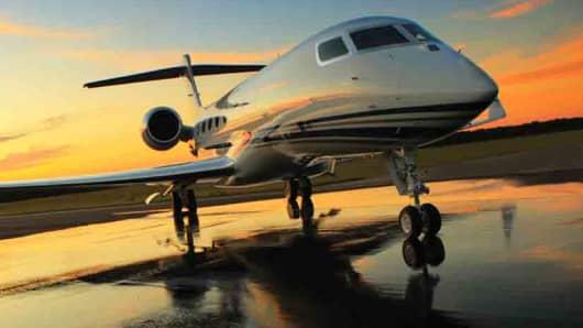 A Gulfstream G650 private jet