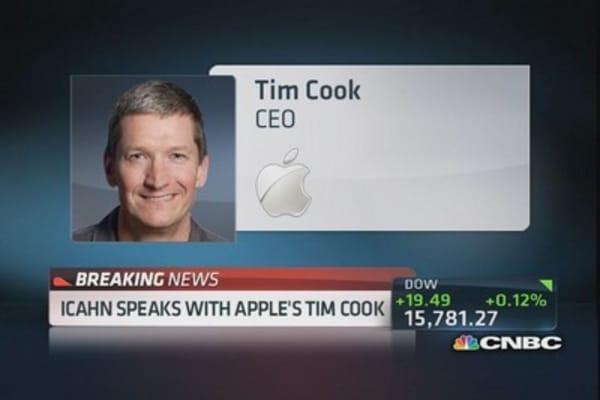 Carl Icahn & Tim Cook talk about buyback
