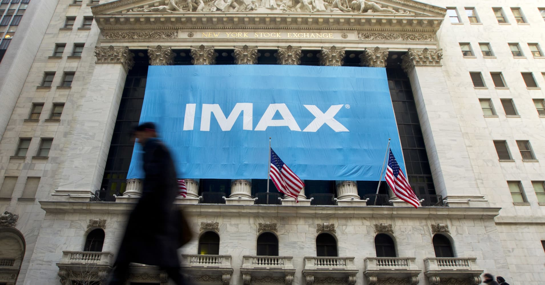 IMAX Corp. signage displayed outside the NYSE in 2011 when the company went public.