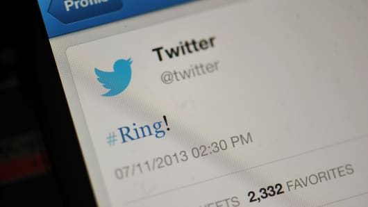 '#Ring!' is displayed on a mobile device as the company announced its initial public offering and debut on the New York Stock Exchange.