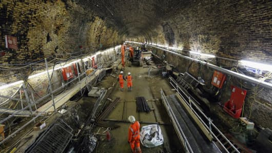 Construction on the Crossrail project in London
