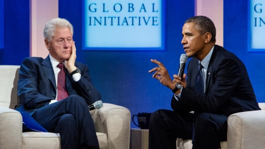 Former President Bill Clinton and President Barack Obama speak at Clinton Global Initiative annual meeting in New York in November.